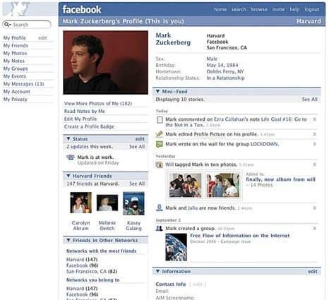 Facebook.com İlk Hali