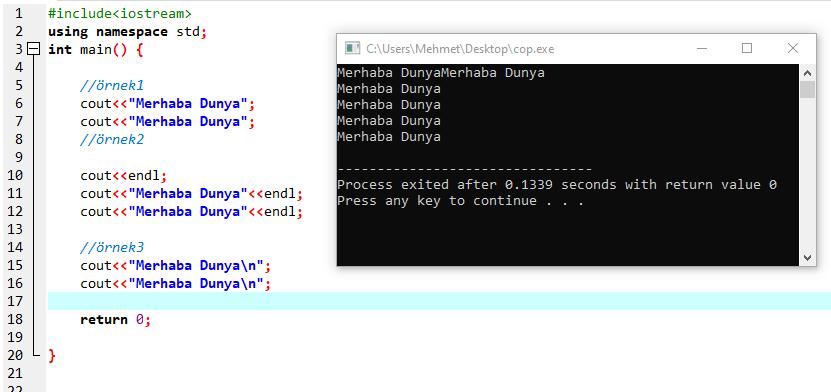 C++ Endl Komutu